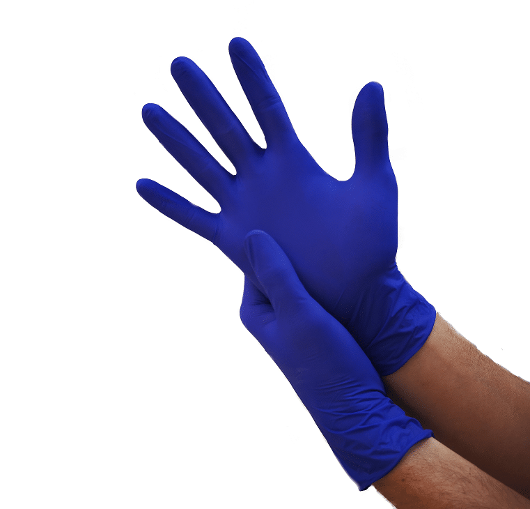 Gants Nitrile Bleus non poudrés boîte de 100 pièces