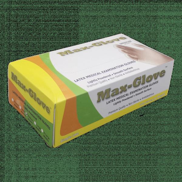 Gants Latex MAX-GLOVE poudrés boîte de 100 pièces