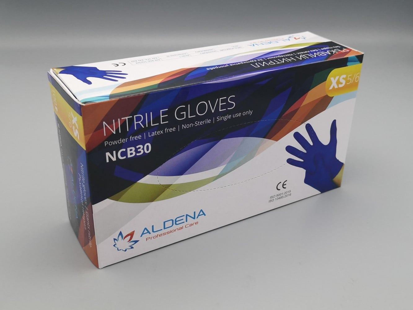 Gants Nitrile ALDENA Bleus non poudrés boîte de 100 pièces