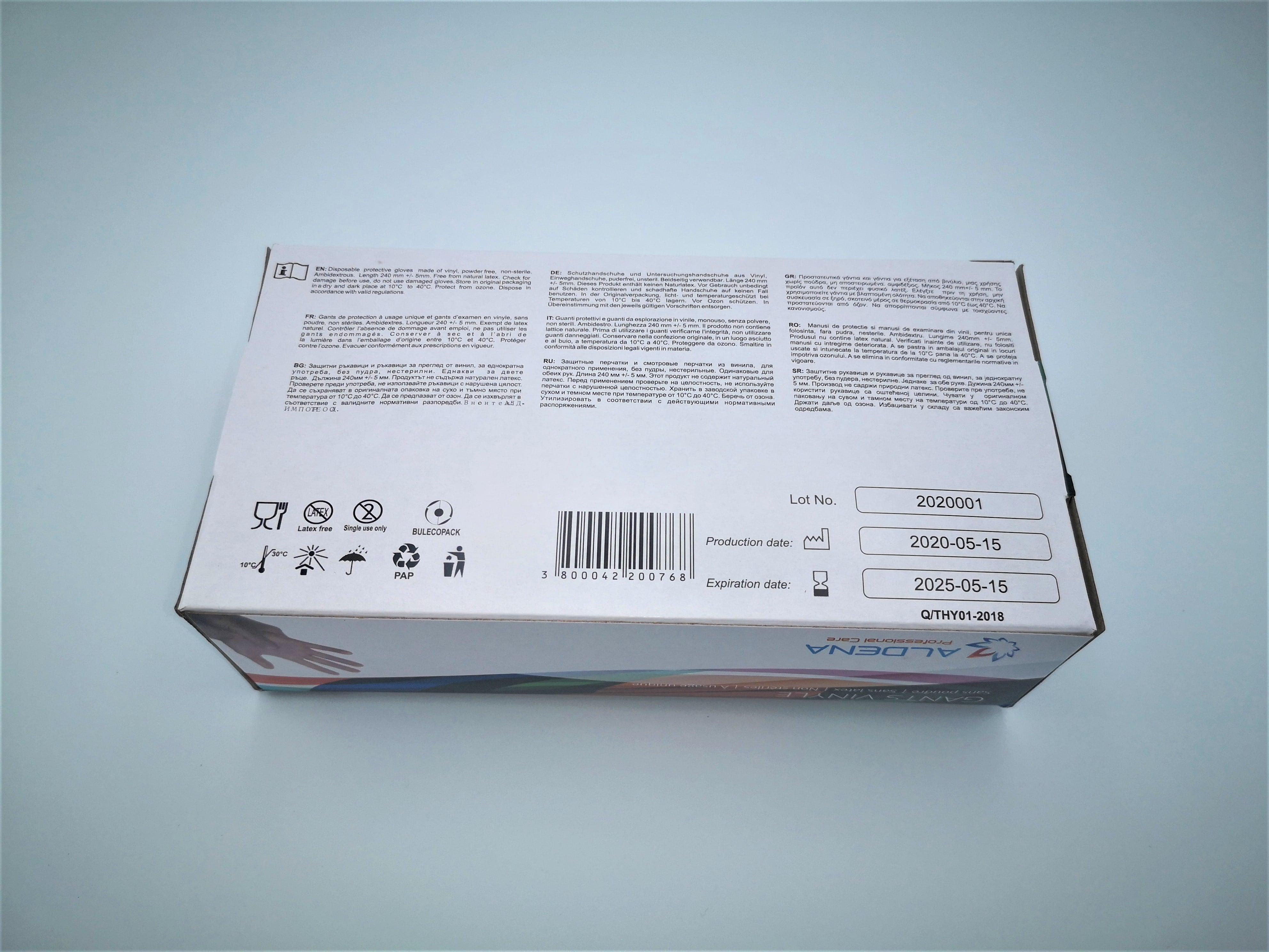 Gants Vinyle non poudrés boîte de 100 pièces