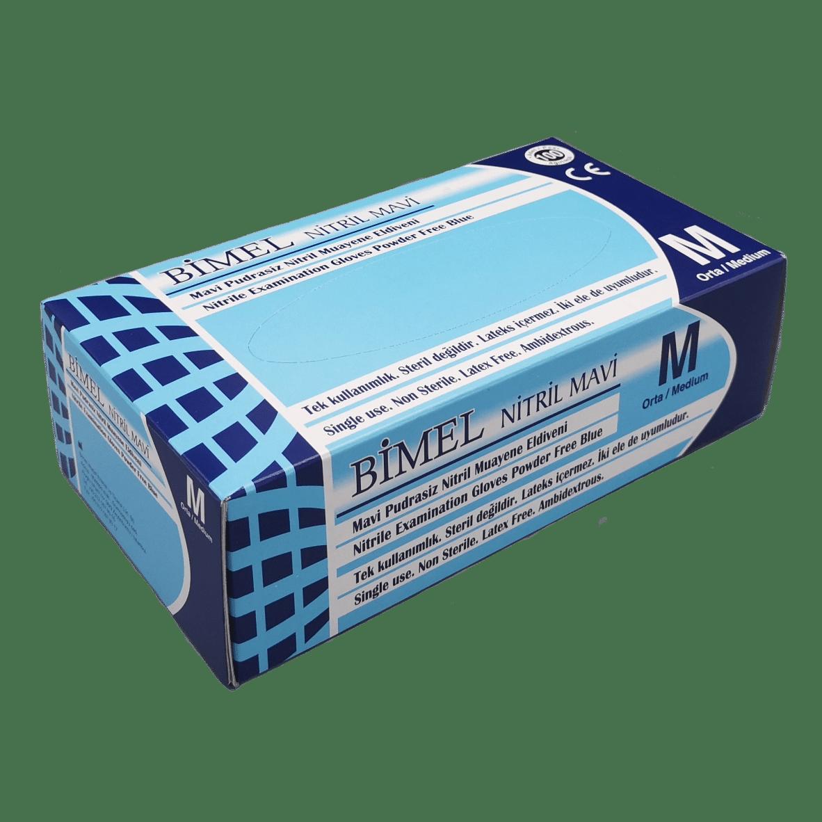 Gants Nitrile Bleus BIMEL non poudrés boîte de 100 pièces